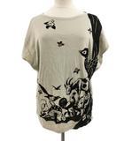 ツモリチサト TSUMORI CHISATO カットソー Tシャツ ボートネック プルオーバー 総柄 ラメ フレンチスリーブ グレー