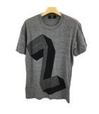 カバンドズッカ CABANE de zucca Tシャツ クルーネック プリント 半袖 S グレー 黒 ブラック