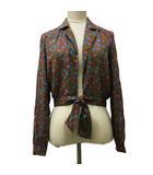 イヴサンローラン YVES SAINT LAURENT ラピーヌ LAPINE ジャケット シャツ テーラード 背抜き 花柄 長袖 11 茶 紫 ブラウン パープル