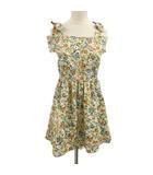 オリーブデオリーブ OLIVE des OLIVE チュニック ワンピース ミニ 花柄 オープンショルダー ノースリーブ 茶 ピンク ブラウン