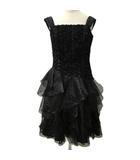 ジュネビビアン GENETVIVIEN ドレス ワンピース カラードレス フォーマル キャミソール ミニ フリル レースアップ 9 黒 ブラック