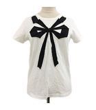 マークジェイコブス MARC JACOBS カットソー Tシャツ プルオーバー クルーネック リボン 半袖 XS 白 黒 ホワイト ブラック