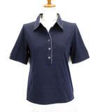アクアスキュータム AQUASCUTUM ポロシャツ スキッパー チェック 半袖 9 紺 ネイビー