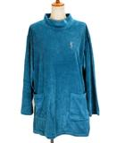 イヴサンローラン YVES SAINT LAURENT ビンテージ カットソー チュニック ハイネック ベロア 刺繍 M 国内正規 青 ブルー