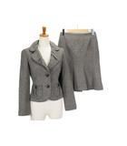 フラジール FRAGILE スーツ ジャケット スカート ツイード ラメ カシミヤ アンゴラ 34 グレー