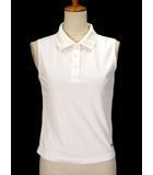 フィラ FILA ポロシャツ カットソー ロゴ 刺繍 ノースリーブ S 白 ホワイト