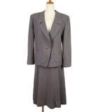 レリアン Leilian スーツ ジャケット スカート フレア ウール 7 グレー