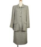 クロエ CHLOE ビンテージ スーツ ジャケット ステンカラー スカート リネン ウール 40 国内正規 緑 グリーン