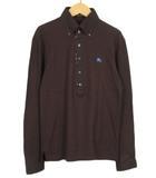 バーバリーブラックレーベル BURBERRY BLACK LABEL カットソー ポロシャツ ボタンダウン 刺繍 長袖 2 国内正規 茶 ブラウン