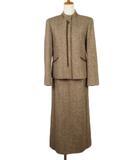 レリアン Leilian スーツ ジャケット スカート ロング ツイード ウール シルク 7 茶 ブラウン