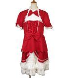 ボディーライン BODY LINE 姫袖とたっぷりフリルのバイカラードレス 4L 赤 レッド 白 ホワイト