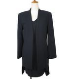 プライベートレーベル Private label スーツ ジャケット ノーカラー ワンピース ノースリーブ M 紺 ネイビー