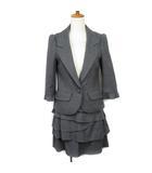 ジルスチュアート JILL STUART スーツ ジャケット 七分袖 スカート フリル ティアード ウール S グレー