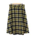 オリーブデオリーブ OLIVE des OLIVE スカート フレア ロング チェック ウール混 4L 黄 イエロー 黒 ブラック