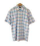 バーバリー BURBERRY シャツ チェック 半袖 コットン S 国内正規 白 ホワイト 青 ブルー