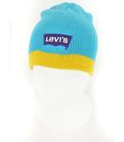 リーバイス Levi's キッズ 帽子 ニット ロゴ 刺繍 ライン 水色 黄 イエロー /yo