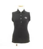 ミッシェルクラン MICHEL KLEIN ポロシャツ ノースリーブ 刺繍 38 黒 ブラック ☆CA7☆ /ry0214