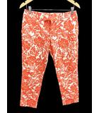 ミッシェルクラン MICHEL KLEIN パンツ サブリナ 七分丈 総柄 40 オレンジ オフホワイト /YZ47