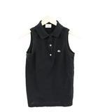 ラコステ LACOSTE ポロシャツ ノースリーブ 刺繍 38 黒 ブラック /TH13