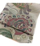袋帯 アンティーク 丸帯  鳳凰 花 菊 扇 376cm 六通 仕立て上がり リバーシブル リメイク 素材