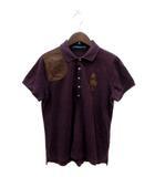 ラルフローレン RALPH LAUREN ポロシャツ 半袖 鹿の子 レザー ビッグポニー L 紫 パープル /YI