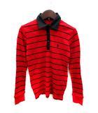 ポロ バイ ラルフローレン Polo by Ralph Lauren ポロシャツ 長袖 リブ ボーダー S 赤 レッド /YI
