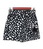 マークジェイコブス MARC JACOBS 台形スカート ミニ カラーデニム 総柄 スパンコール 24 黒 ブラック 白 ホワイト /YI