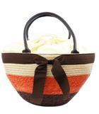 アナイ ANAYI バッグ かご カゴ ストロー ハンド トート ボーダー 3色展開 カラーブロック リボン オレンジ 茶 ブラウン /M2N