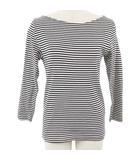 オーラリー AURALEE コラボ イエナ IENA カットソー Tシャツ バスクシャツ クルーネック ボーダー 七分袖 1 黒 ブラック /RI2