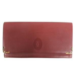カルティエ Cartier クラッチ バッグ セカンド ケース マストライン レザー 赤 ボルドー 鞄 ☆AA★ レディース