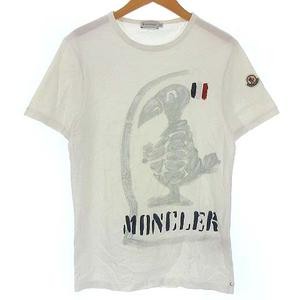 モンクレール MONCLER 82565 Tシャツ カットソー ペイント ロゴ バード トリコロール プリント 半袖 ホワイト 白 S ●IBS94 メンズ