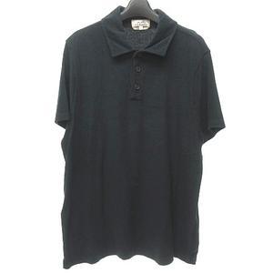エルメス HERMES 17SS 美品 パイル地 ポロシャツ カットソー 半袖 黒 L 国内正規品 0802 メンズ