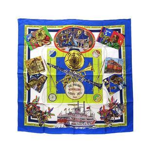 エルメス HERMES THE ORIGINAL NEW ORLEANS CREOLE JAZZ 1923 スカーフ シルク カレ 90 美品 ★AA☆ レディース