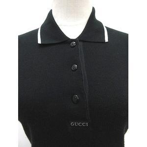big sale 83d49 98bee グッチ GUCCI ポロシャツ 半袖 サイズ M 黒 ブラック コットン 無地 シンプル イタリア製 トップス IBS レディース