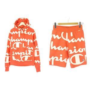チャンピオン CHAMPION セットアップ ロゴプリント パーカー ハーフパンツ M S オレンジ ホワイト ショートパンツ 長袖 プルオーバー 上下セット ボトムス メンズ