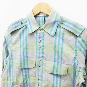 未使用品 スライ SLY シャツ ブラウス 長袖 スナップボタン チェック 綿 コットン ストレッチ 2(M相当) 灰色 グレー系 青 ブルー系 ●40 レディース