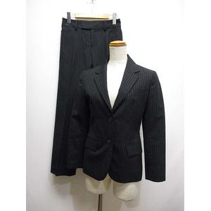パーソンズ PERSON'S 美品 パンツ スーツ セットアップ ストライプ柄 薄手 7AR 黒 ブラック ジャケット 背抜き スラックス 裏地付き レディース