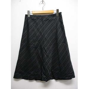 スキャパ SCAPA チェック柄 ウール シルク 台形 フレア スカート 38 黒 ブラック ひざ丈 裏地付き 日本製 レディース