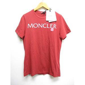 未使用品 モンクレール MONCLER 半袖 Tシャツ ロゴプリント ワッペン S 赤 レッド カットソー T-SHIRT GIROCOLLO E20938091550 V8094 国内正規品 タグ付き レディース