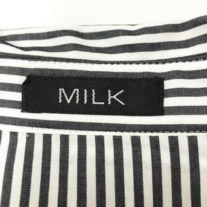 ミルク MILK ストライプ ブラウスシャツ フリル装飾 長袖 10191122 ホワイト グレー レディース