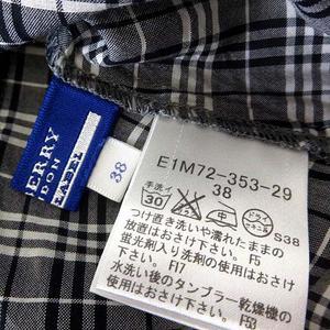 バーバリーブルーレーベル BURBERRY BLUE LABEL シャツ ブラウス 半袖 ノバチェック ロゴ 刺繍 フリル ギャザー M 38 グレー 黒 ブラック 白 ホワイト 国内正規品 レディース