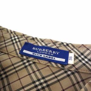 バーバリーブルーレーベル BURBERRY BLUE LABEL シャツ ブラウス 半袖 ノバチェック フリル ギャザー パフスリーブ M 38 ベージュ モカ 黒 ブラック 赤 国内正規品 レディース