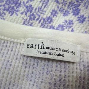 アースミュージック&エコロジー EARTH MUSIC & ECOLOGY ワンピース チュニック ワッフル サーマル 花柄 小花柄 ヘンリーネック フレア 長袖 M オフ白 ホワイト ラベンダー 美品 レディース
