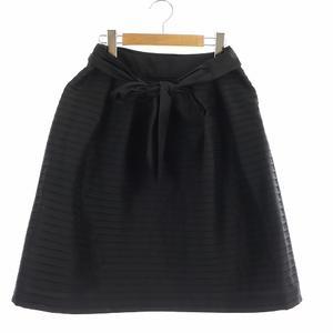 トゥービーシック TO BE CHIC スカート フレア ミニ リボンベルト 40 L 大きいサイズ 黒 ブラック /NM ■GY レディース