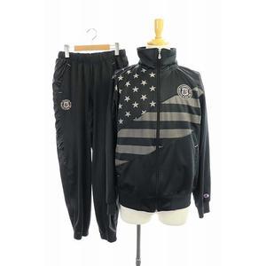 チャンピオン CHAMPION ジャージ セットアップ トラックジャケット パンツ イージー 刺繍 L 黒 ブラック /MF ■GY メンズ