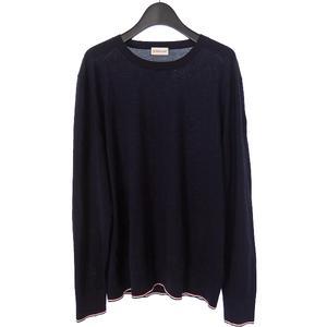モンクレール MONCLER 裾ライン クルーネック ニット セーター ウール 長袖 XL ネイビー 紺 C-TIND-18-173 メンズ
