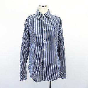 ラルフローレン RALPH LAUREN Slim Fit シャツ ブラウス 長袖 ストライプ ロゴ 刺繍 12 180/104A ブルー×ホワイト ※EKM レディース